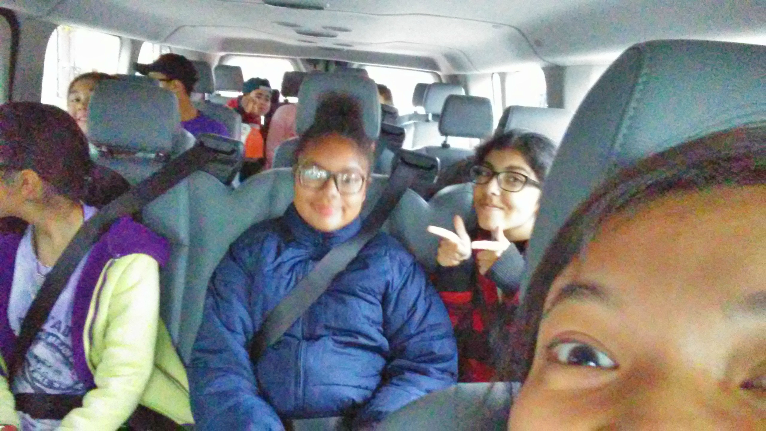 Safety first! Above is a quick selfie of all of our athletes buckled in and ready to go!