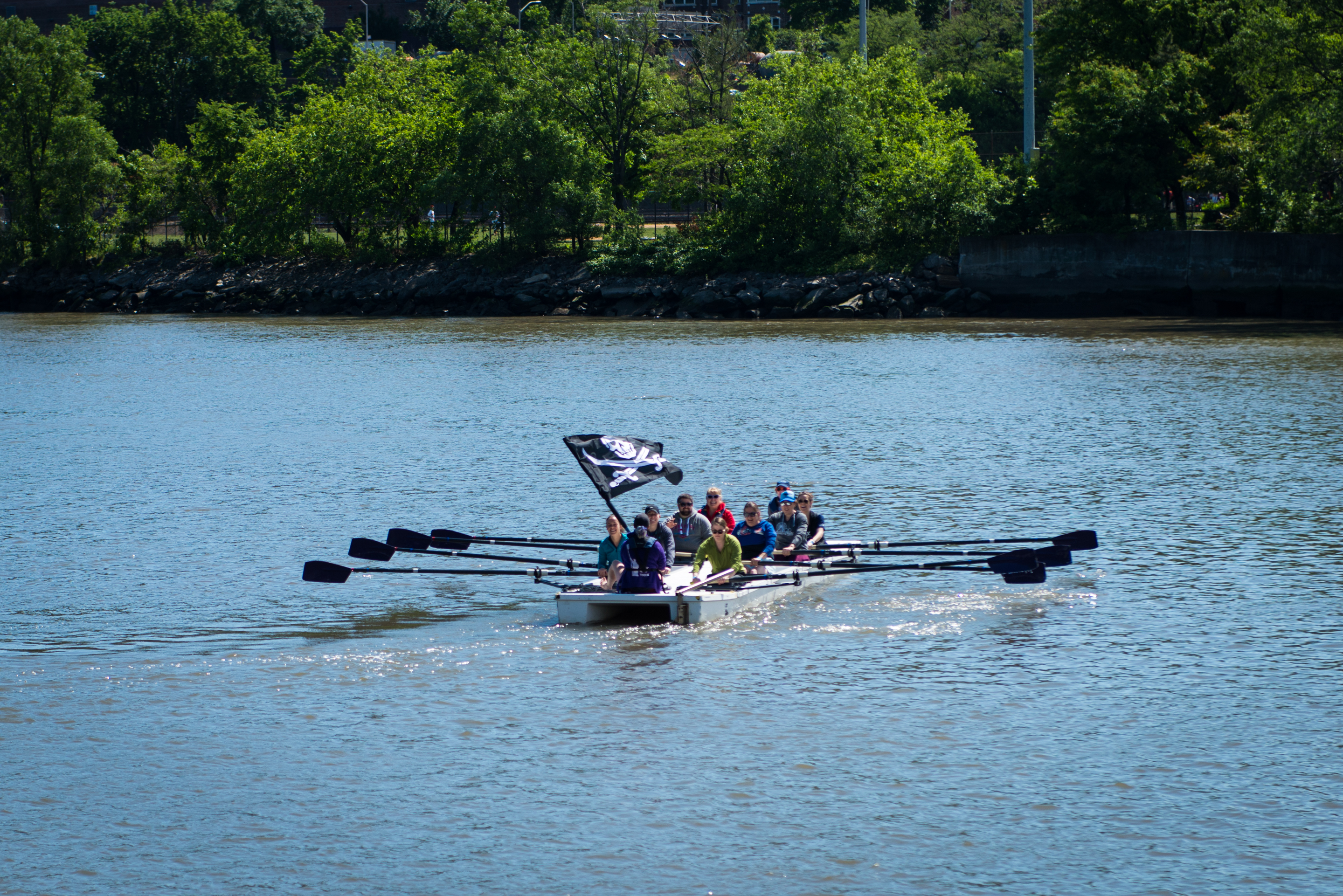 rowing with the pirate flag